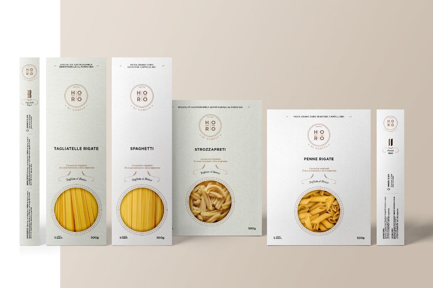 Realizzazione immagine coordinata per Horo di Norcia | Hammer ADV | Packaging Pasta