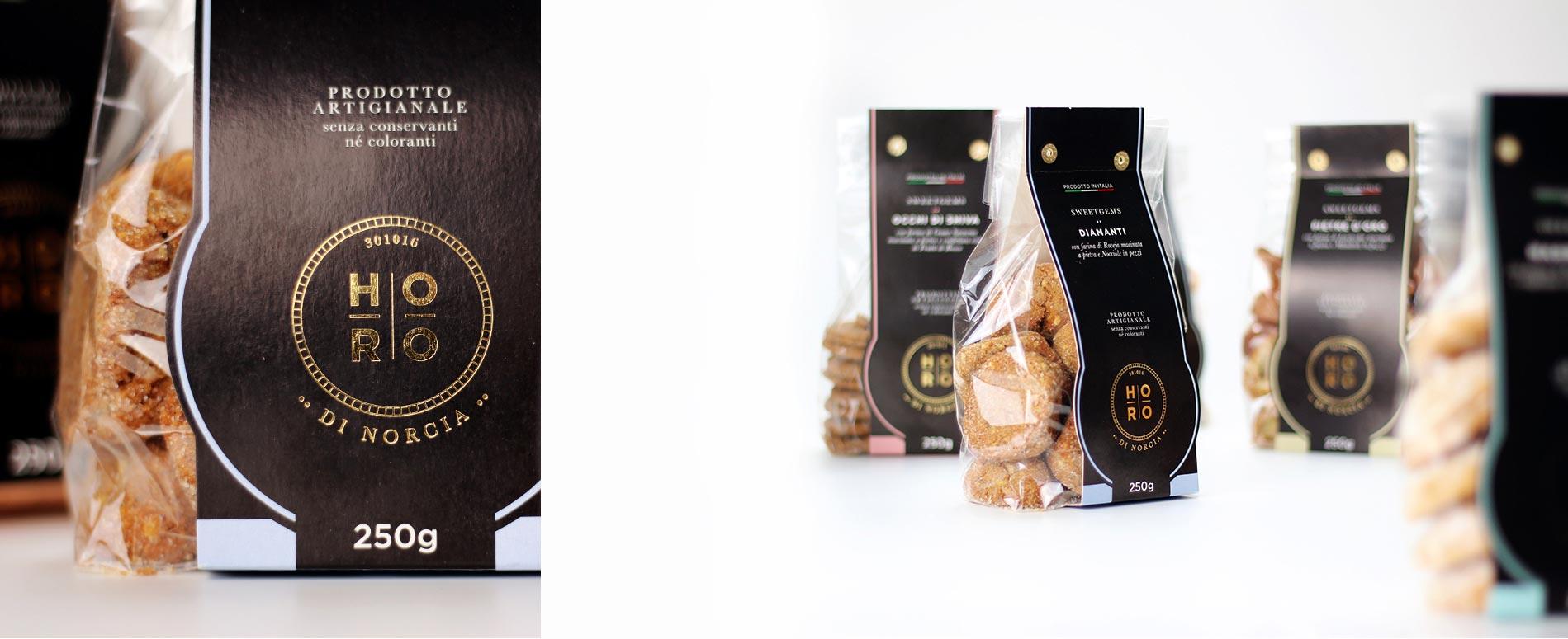 Realizzazione immagine coordinata per Horo di Norcia | Hammer ADV | Packaging Biscotti